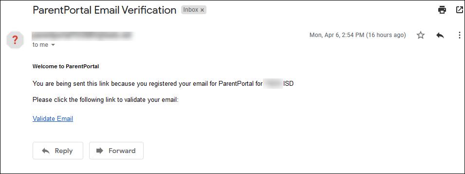 Email verification message