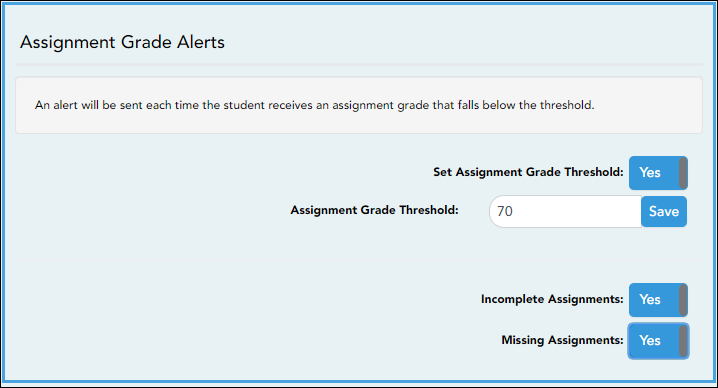 Assignment Alert Settings