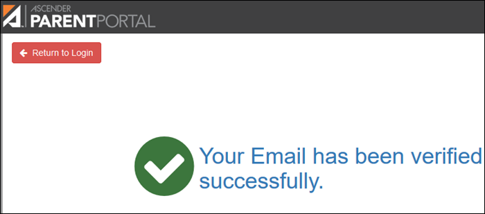 Email successfully verified message