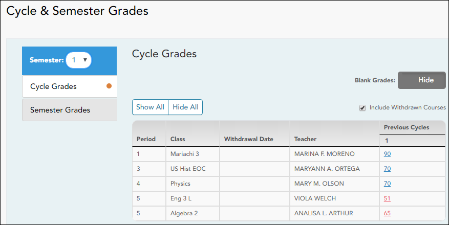 Cycle Grades view