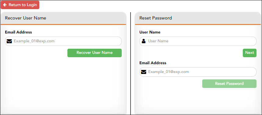 Retrieve User Name/Reset Password page